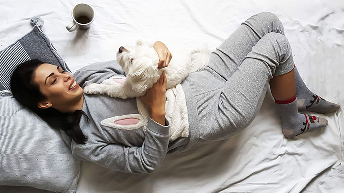 Stay In Your Comfort Zone Wrap up, snuggle down and make the most of cosy evenings in with some luxury loungewear, pyjamas and socks.